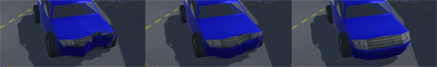 Restoring car mesh to undeformed state